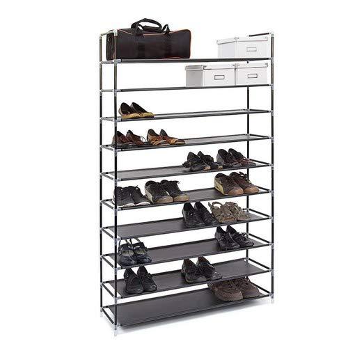 Relaxdays Schuhregal XXL H x B x T: ca. 175,5 x 100 x 29 cm Schuhablage für 50 Paar Schuhe Schuhschrank mit 10 Ebenen aus Stoff und Metall erweiterbarer Schuhständer für großen Stauraum, schwarz -