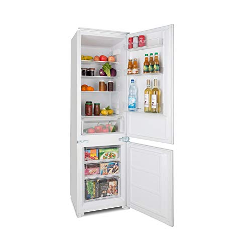 Klarstein CoolZone 250 Eco • A++ • Kühl-Gefrier-Kombination • Einbau Kühlschrank mit Einbaumaterial • 208 kWh/Jahr • 250 Liter Gesamtvolumen • 54 x 177 x 54 cm (BxHxT) • LED • weiß