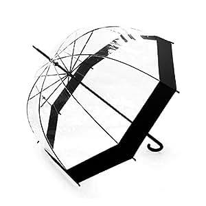 Becko Stick Umbrella / Clear Canopy Bubble Umbrella / Transparent Dome Shape Princess Style Rain Umbrella with Gradient J-handle for Wedding / Party / Camping (Black Edge)