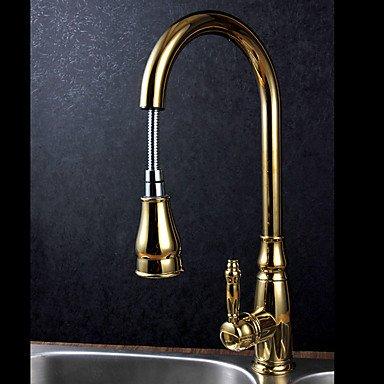 &ZHOU Deck montiert Einhand ein Loch Messing mit Ti-PVD Gold Küche Wasserhahn ausziehbare Spray Waschbecken Wasser Mischbatterie