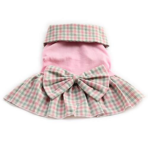7°MR Plaid Revers Hund Kleider Prinzessin Kleid für Hunde Rock Haustier Mädchen Kleidung SuppliesXS, S, M, L, XL (Color : Pink, Size : L)