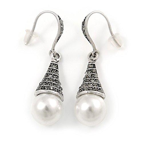 Orecchini pendenti con perle sintetiche in marcasite, color argento, lunghezza 45 mm