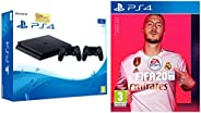 Sony PS4 1TB Slim Console with Additional Dualshock Controller (Black) + FIFA 20(PlayStation 4)