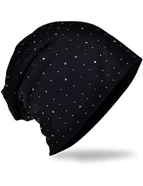 Cappello in morbido jersey con pregiata decorazione di strass, moda unisex, tinta unita nero taglia unica
