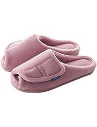 53fcd62543bc0a Pantofole Ciabatte Scarpe Pattini Velcro Regolabile Interno Superiore  Coppia Suola Antiscivolo Home Mantenere Caldo Fondo Spesso