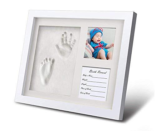 (Baby Handabdruck und Fußabdruck Bilderrahmen Set Säugling Fußabdruck Abdruckset besonderes Geschenk zur Geburt für Neugeborene auch Babyabdrücke von Zwillingen geeignet Baby Dusche Geschenk 3 Rahmen)