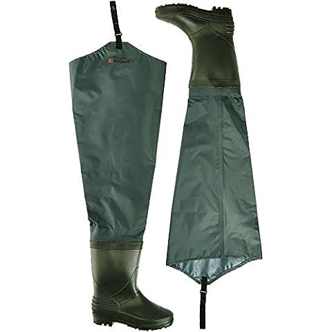 Shakespeare Sigma - Cosciali da pescatore in nylon, con suola rinforzata, verde (verde), Size 9 - Hip Trampoliere Stivali