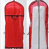 Staubdichter Beutel für Hochzeitskleid, tragbar, mit Reißverschluss und Griff, zum Aufhängen, atmungsaktiv, Kleidungsstück, Schutz vor Feuchtigkeit, rot