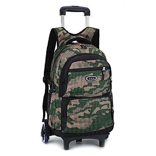 Kinderrucksäcke Kinder Rucksack Camo Waterproof Rolling Trolley Schultasche Rucksack auf Rädern Camouflage Rollbarer Rucksack Mitführen Gepäck Grundschüler 6 Runden Treppensteigen Trolley Bag -