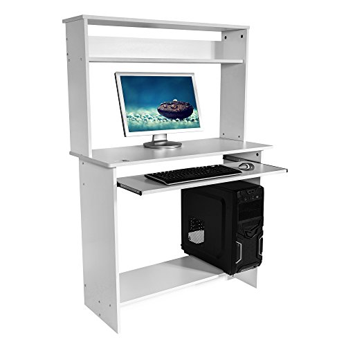 Image of Mari Home - Bewicke White Home Office Computer Corner Desk Workstation with Sliding Keyboard Shelf