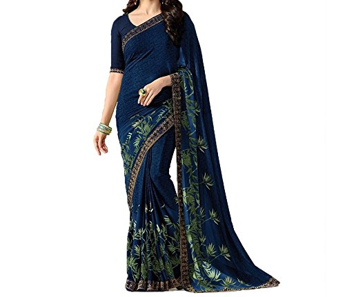 Macube Women's Georgette Blue color Printed Saree With Blouse Piece (Green) (Blue)