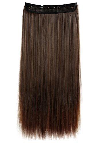 PRETTYSHOP(B:55cm x L:25 cm & 120g)Clip In Extensions Haarverlängerung Glatt Diverse Farben (braun mix  (Farbton 4/30))