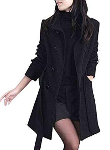 ACHICGIRL Women's Fashion Double Breasted Woolen Trench Coat with Belt, Black L