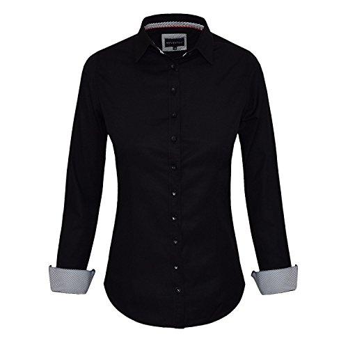 HEVENTON Bluse Damen Langarm in Schwarz Hemdbluse - Größe 34 bis 50 - elegant und hochwertig Farbe Schwarz, Größe 46