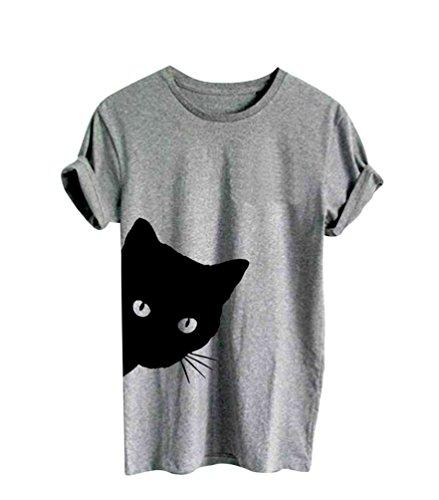 Ketamyy Mujer Impresión De Patrón De Gato Casual De Moda Camiseta Cuello Redondo Manga Corta Algodón Autocultivo Blusas Gris L
