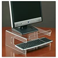 Compucessory TFT Monitor Stand for 19in with Keyboard Storage Acrylic Clear Ref 30851 by Compucessory