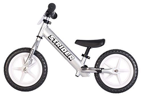 Strider 12 Pro Kinder Laufrad, 12 Zoll Kinder Lauflernrad ab 18 Monate bis 5 Jahre, Balance Bike in Silber