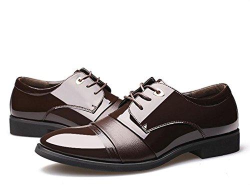 GRRONG Herren-Leder-Schuhe Geschäfts-formales Kleid Schwarz Braun Brown