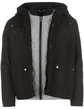 Firetrap doble capa Parka chaqueta para hombre color negro chaquetas abrigos Outerwear, negro, mediano