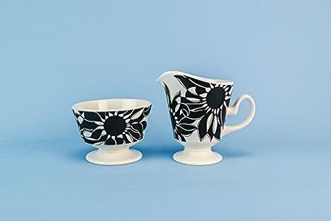 Slick schwarze Milch CREAMER Sugar Bowl Set mit Blumen Mitte des Jahrhunderts Moderne Carlton Ware Keramik Vintage Serving kleine Pitcher Einzigartige English 1960s LS