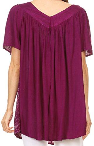 Sakkas Talulla Long Col en V Batik Feuille Floral Brodé Imprimé Blouse Shirt Top Violet