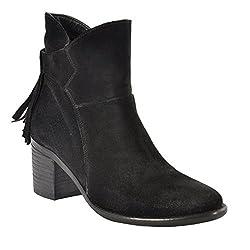 Salt N Pepper Elle Black Real Suede Leather Women Boots