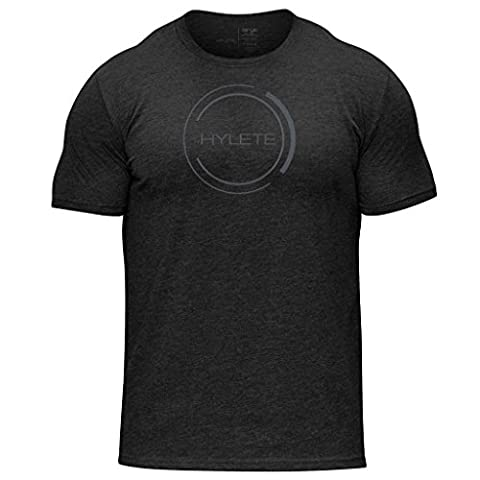 HYLETE Men's Nation Tri-Blend Crew Tee - Super Soft, V-Shaped Athletic Cut - Vintage Black - Small