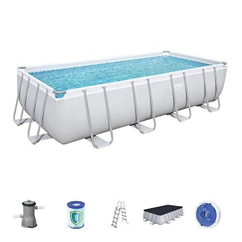 Bestway Power Steel Rectangular Frame Pool Set, viereckig 488x244x122 cm Stahlrahmenpool-Set mit Filterpumpe + Zubehör, grau