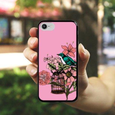 Apple iPhone X Silikon Hülle Case Schutzhülle Vogel Tattoo Blumen Hard Case schwarz