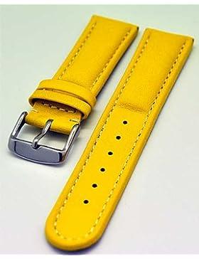 Uhrenarmband Armband GELB gepolstert 24mm Kalbleder 3872
