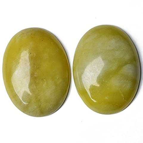 Paquet 1 x Jaune Jade Citron 18 x 25mm Cabochon Ovale - (CA16642-6) - Charming Beads