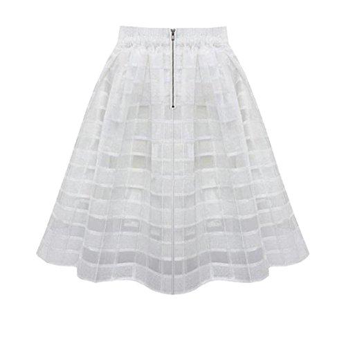 Rcool Lässige Chiffon Organza Röcke hohe Taille Reißverschluss Tüll-Rock für Frauen Damen (S, Weiß) (Männer Weißes Kleid Schuhe)