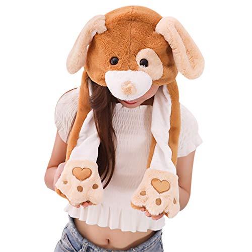 sch Tier Ohr Hut Spielzeug Hasenmütze Stirnband Tiermütze Einhorn-Hüte Bunny Ohren mit Beweglichen Ohren Cosplay Kostüm für Dame Mädchen Erwachsene Kinder (60CM, Brown Puppy) ()