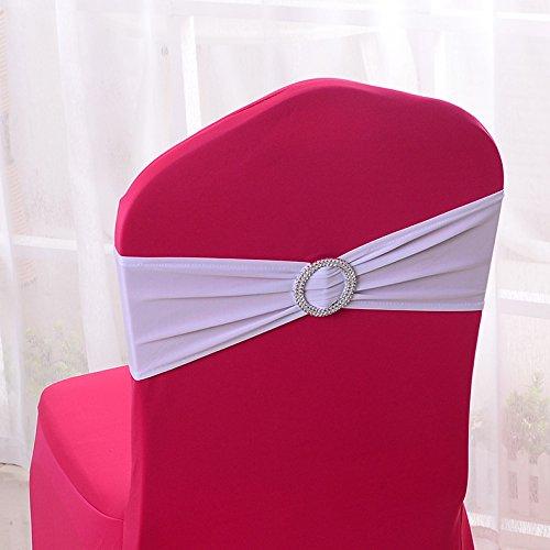 50x Elastische Stuhl-Schärpen für Hochzeit, Zuhaue, Party, Dekorationen, mit Elasthan weiß (Stuhl Band Schärpe)