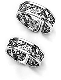Manglam Jewellers Lovely Cutwork Silver Toe Ring For Women - TR228