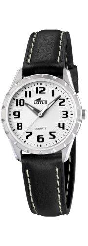 Lotus L15657–5–Reloj de pulsera de mujer, correa de piel color negro