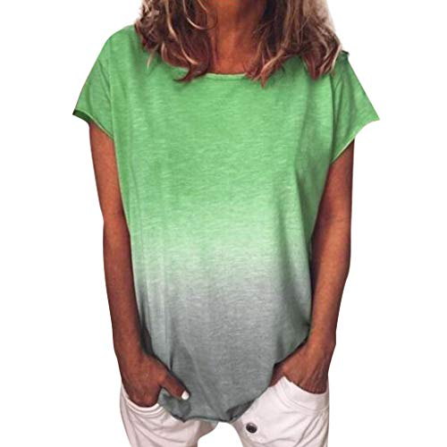 TOPKEAL Damen Top Bluse Frühling Sommer Frauen Bequem Blusen Casual Tops Farbverlauf Kurzarm T-Shirt Tunika Bluse Tops Stripe Short Beanie