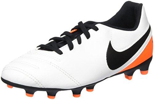 Nike - Jr Tiempo Rio III FG, Scarpe da calcio Unisex – Bimbi 0-24 Bianco (White/Black-Total Orange)