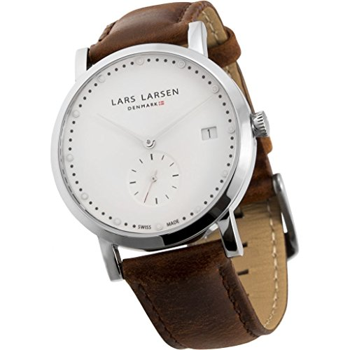 Lars Larsen LW37 Women's Quartz Watch with White Dial Analogue Display and Brown Stainless Steel Strap 137SWBL