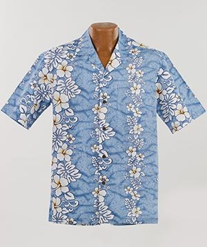 Original Hawaiihemd ALOHA Shirt Made in Hawaii Alle Grössen M-7XL Verschiedene Designs (Floral Lines Light Blue, L) (Hawaii-shirt Große)