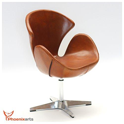 Echtleder Drehsessel Vintage Ledersessel Braun Design Leder Sessel Loft Clubsessel Möbel NEU 535