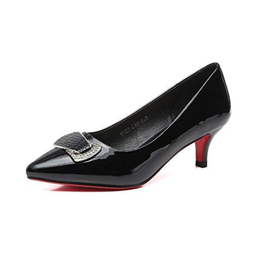Damen Pumps Slip Spitz Zehen mit Strass Bogen Arbeitschuhe Lackleder Elegant Bequeme Schuhe Schwarz