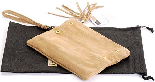 Italienische Wildleder Leder Falten über Kupplung, Handgelenk oder Umhängetasche.Umfasst eine Marke schützenden Aufbewahrungstasche. Kamel