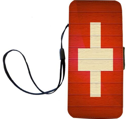 Rikki Knight Flagge Schweiz auf Distressed Holz Flip Wallet iphonecase mit Magnet Klappe für iPhone 5/5S-Schweiz Flagge -