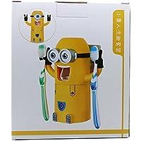 Cute diseño de dos ojos minions Wash Set Soporte para cepillo de dientes dispensador de pasta de dientes automático (Amarillo) por chargers4all
