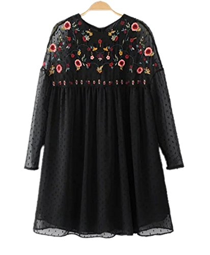 Haroty Femmes Robe Mini Broderie Elegant Col Rond à Manches Longues  Printemps et Estivale Robe Casual ee8e7bb771f