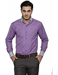 DAZZIO Solid Slim Fit Purple Formal Shirt (Please Refer Size Chart)