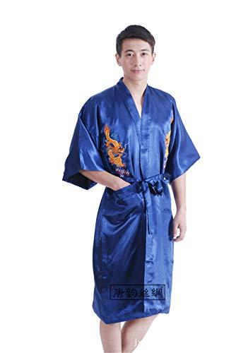 MAIMOMO Nachtwäsche & Bademäntel Für Damen Tang Anzug Pyjamas Bequeme Retro-Lange Herren Tang-Anzug Pyjamas Robe Bestickt Xiaolong Bademantel, Marine, XL