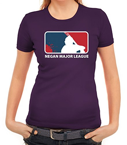 Zombie Serie Damen T-Shirt mit Negan Major League Motiv von ShirtStreet Lila