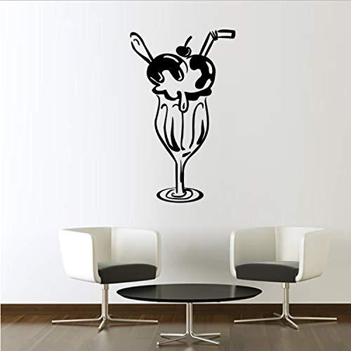qazwsx Wohnkultur Vinyl Kunst Aufkleber DIY Wasserdichte Kirsche Eisglas Moderne Wandaufkleber Für Lounge Fertige Größe 59X98 cm (Glas Türen Kirsche Schrank Mit)